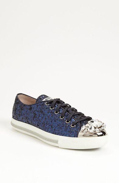miu miu glitter crystal toe sneaker in blue lyst. Black Bedroom Furniture Sets. Home Design Ideas