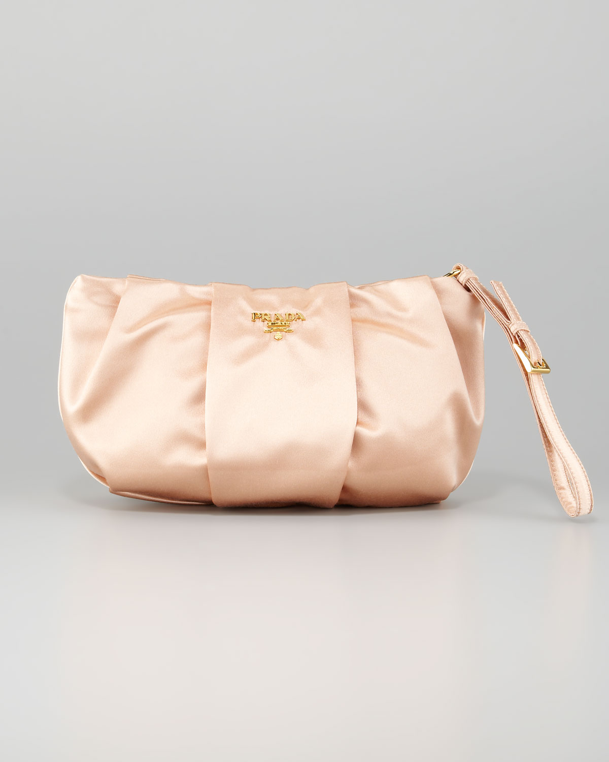 f1f8155e0d5c Lyst - Prada Satin Wristlet Bag in Natural