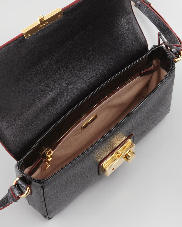 Prada Saffiano Vernice Small Shoulder Bag in Black (nero) | Lyst