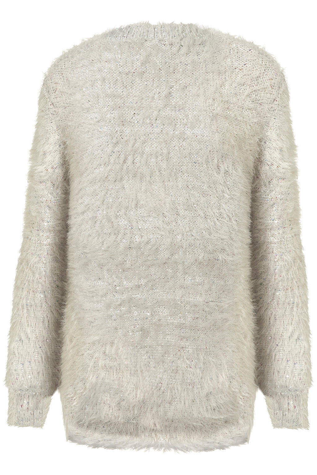 Topshop Knitted Fluffy Sequin Jumper in Gray   Lyst
