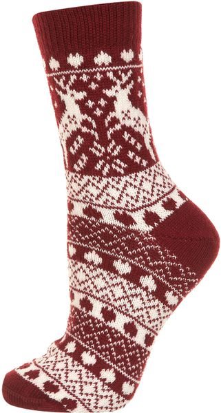 Topshop Wine Reindeer Fairisle Socks in Red (wine)