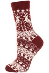 Topshop Wine Reindeer Fairisle Socks in Red (wine) - Lyst