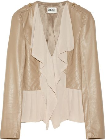 Alice By Temperley Alexander Leather and Georgette Jacket - Lyst
