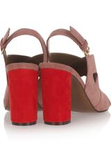 Marni Twotone Suede Sandals in Red - Lyst