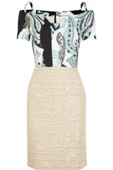 Michael Van Der Ham Printed Jacquard and Brocade Dress