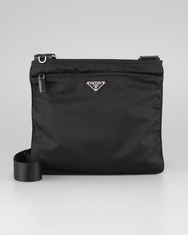 prada vela large crossbody messenger bag nero in black for men nero lyst. Black Bedroom Furniture Sets. Home Design Ideas
