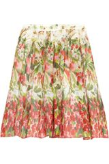 RED Valentino Floralprint Cottonmuslin Skirt - Lyst