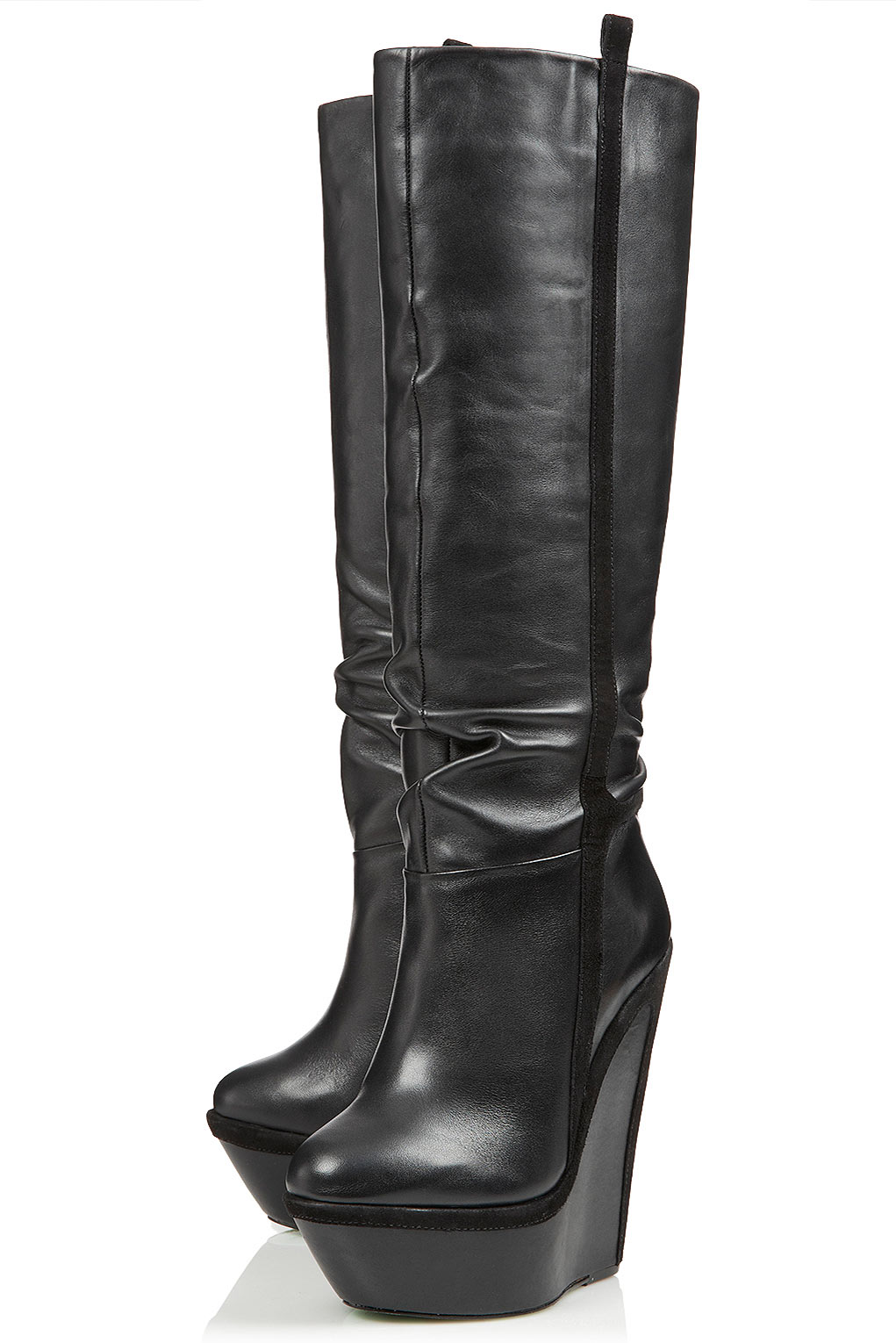Lyst Topshop Winters Knight Wedge Boots By Cjg In Black