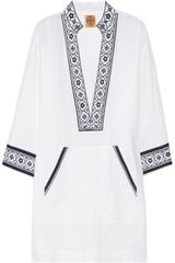 Tory Burch Tory Embroidered Linen Tunic - Lyst