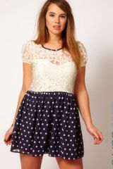 Asos Curve Skater Dress with Lace Top and Spot Skirt - Lyst