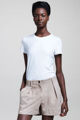 Brunello Cucinelli Pleated Suede Shorts - Lyst