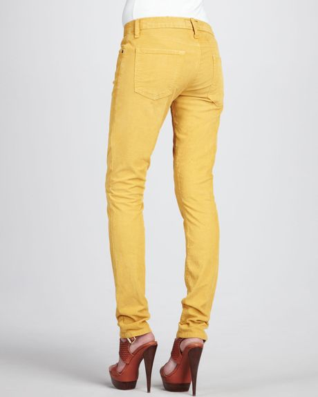 Original Etro Mustard Cotton Stretch Ankle Pants In Yellow Mustard  Lyst