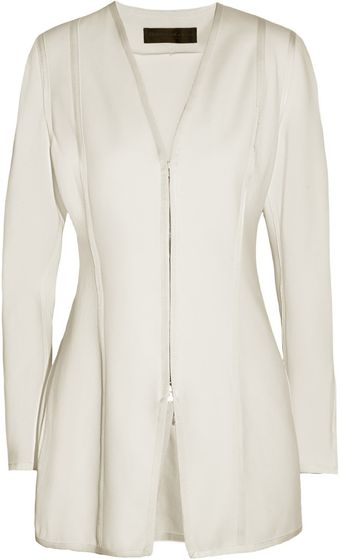 Donna Karan New York Twill Trimmed Stretch Jersey Jacket - Lyst