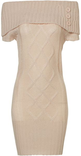 Jane Norman Cable Bardot Jumper Dress in Beige (nude)