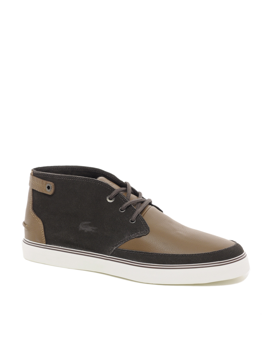 lacoste clavel chukka boots in brown for lyst