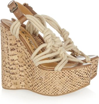 Lanvin Rope and Snakeprint Cork Wedge Sandals - Lyst