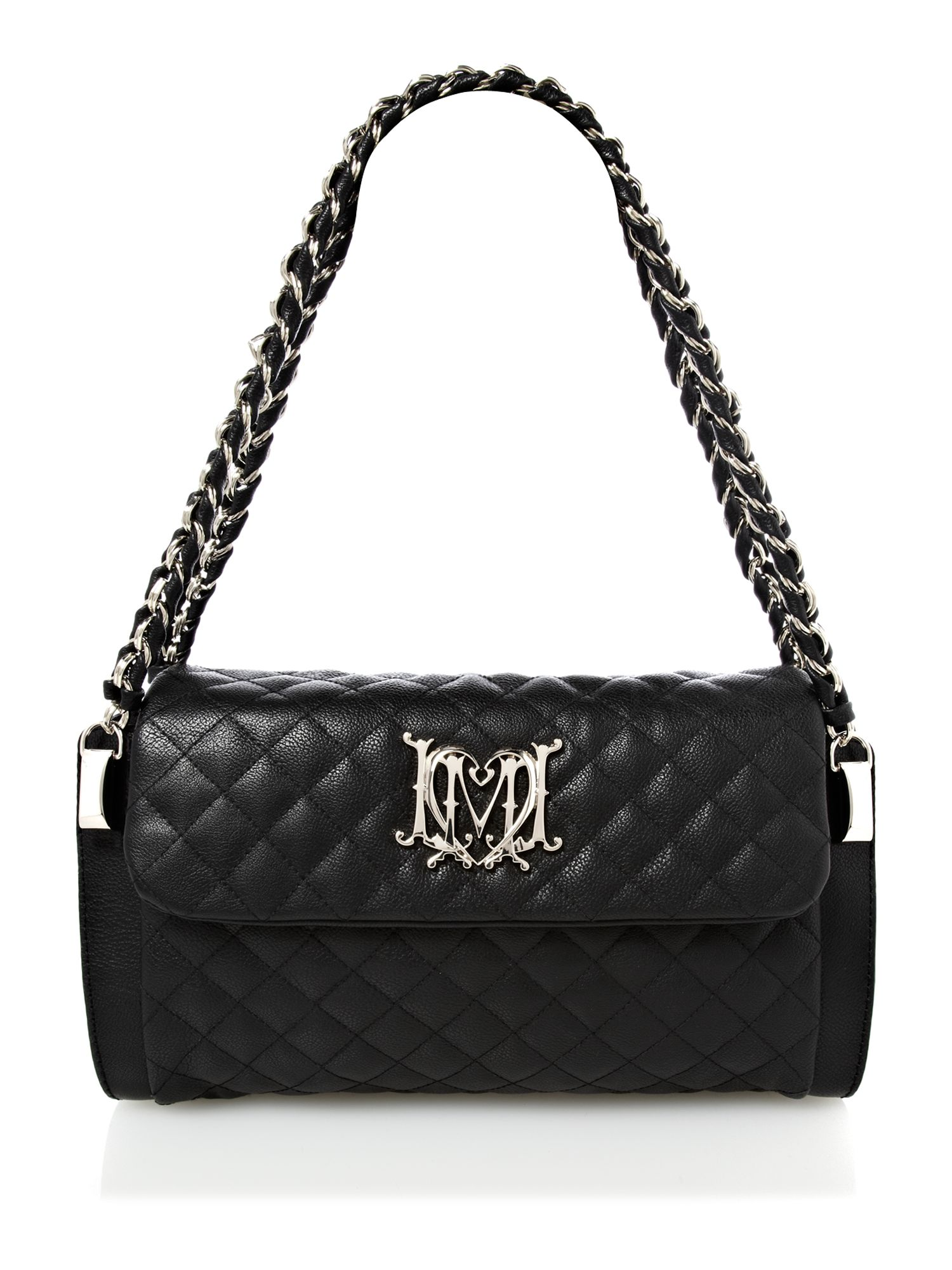 love moschino modern quilted shoulder bag in black lyst. Black Bedroom Furniture Sets. Home Design Ideas