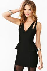 Nasty Gal Crossover Peplum Dress Black - Lyst