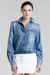 Pierre Balmain Studded Denim Shirt - Lyst