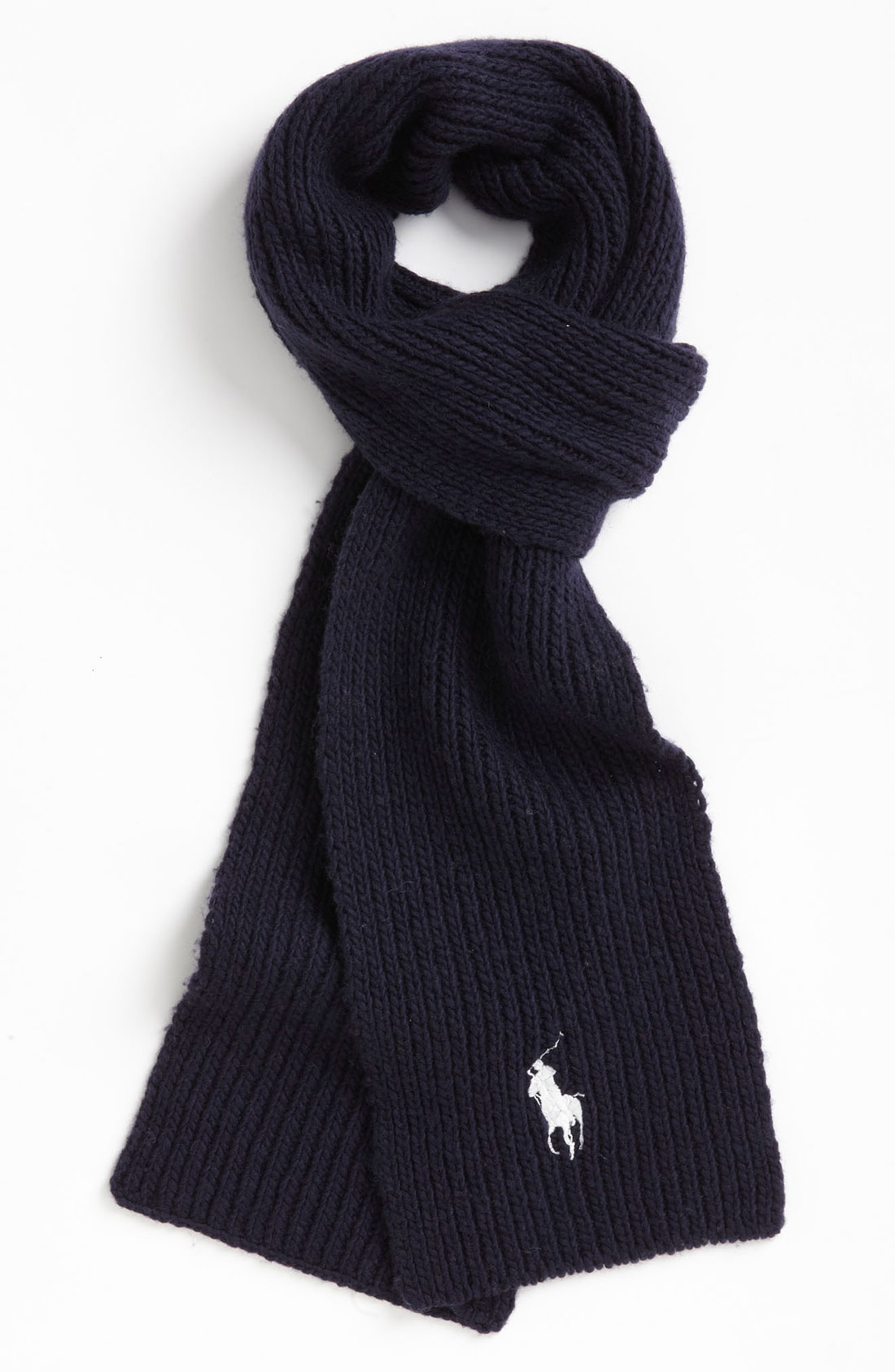 polo ralph wool blend scarf in black for