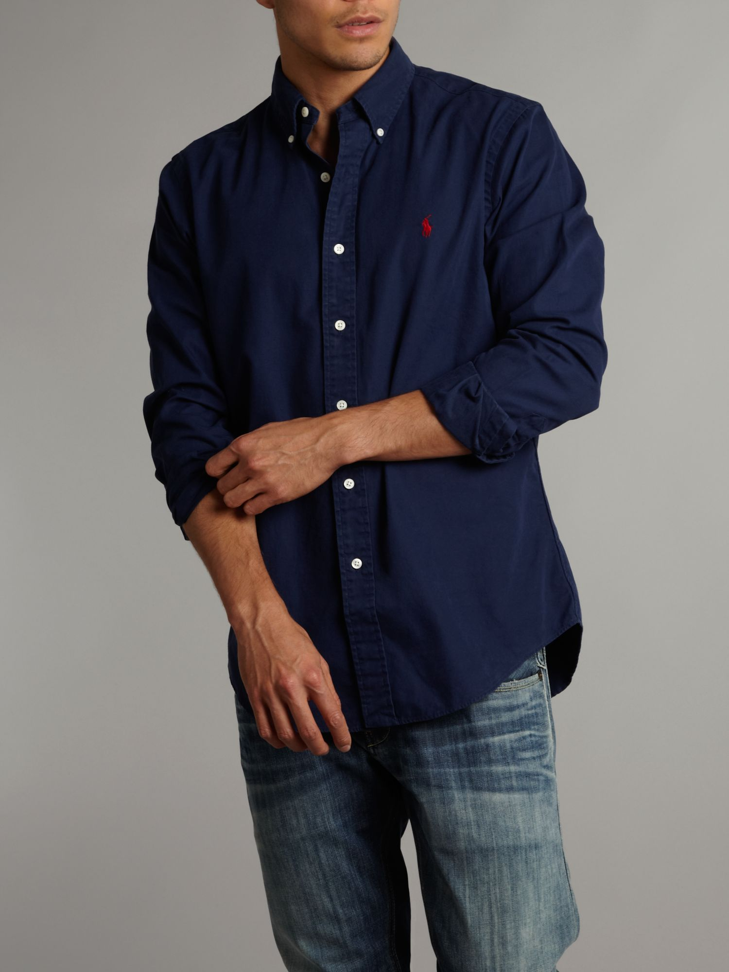 Polo Ralph Lauren Solid Chino Shirt In Blue For Men Lyst