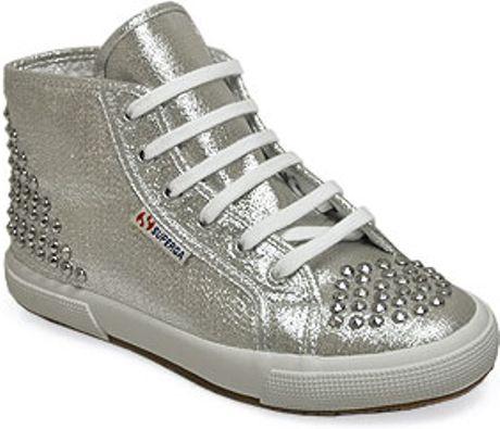 superga silver lame studded hi top platform sneaker in silver lyst. Black Bedroom Furniture Sets. Home Design Ideas
