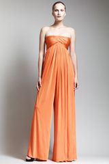 Alexander McQueen Strapless Empirewaist Jumpsuit Orange