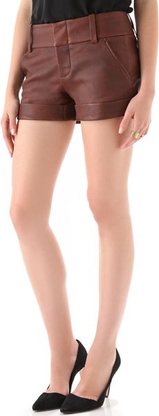 Alice + Olivia Cady Cuff Leather Shorts - Lyst