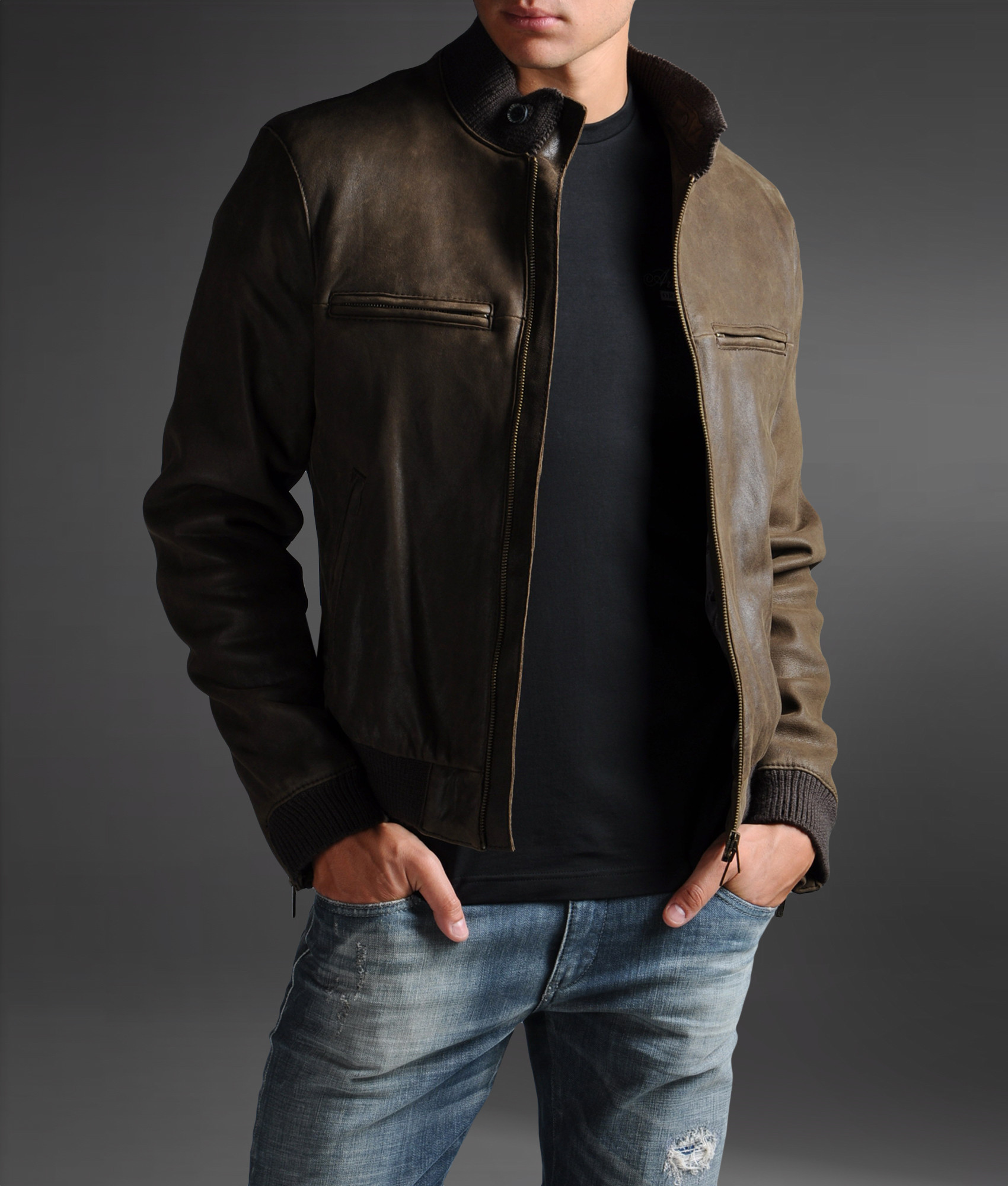 armani jeans leather jacket in brown for men lyst. Black Bedroom Furniture Sets. Home Design Ideas