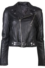 Blk Dnm Cropped Motorcycle Jacket - Lyst