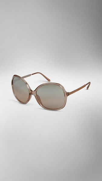 Burberry Round Frame Acetate Sunglasses in Beige (nude) - Lyst