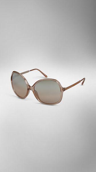 Burberry Round Frame Acetate Sunglasses in Beige (nude)