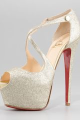 Christian Louboutin Exagona Glitter Crisscross Red Sole Pump Gold - Lyst