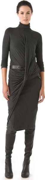 Donna Karan New York Twist Drape Dress in Black (anthracite)
