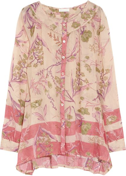 Donna Karan New York Floral Print Cotton and Silk Blend Shirt in Pink (floral) - Lyst