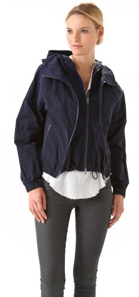 Donna Karan New York Double Zip Hooded Jacket in Blue (indigo)
