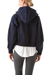 Donna Karan New York Double Zip Hooded Jacket in Blue (indigo) - Lyst