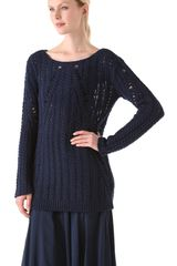 Donna Karan New York Long Sleeve Top in Blue (indigo) - Lyst