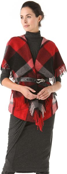 Donna Karan New York Fringe Vest in Red