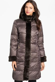 Ellen Tracy Faux Fur Trim Quilted Coat - Lyst