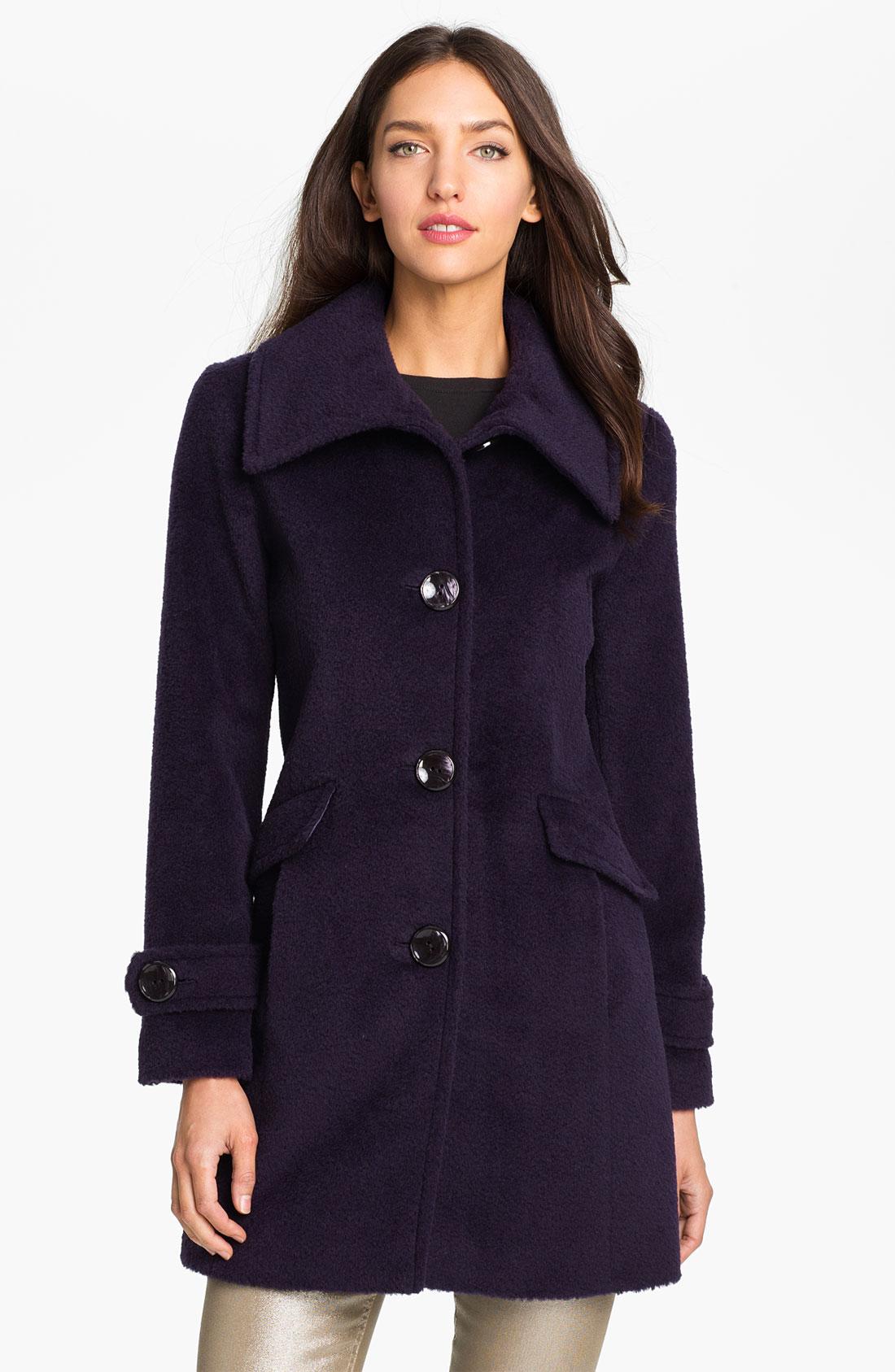 Ellen Tracy Wool Alpaca Walking Coat In Purple Plum Lyst