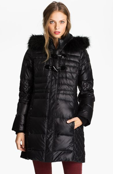 Guess Quilted Coat With Faux Fur Trim Online Exclusive In