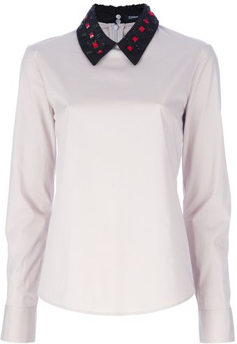 Jil Sander Navy Embellished Collar Blouse - Lyst