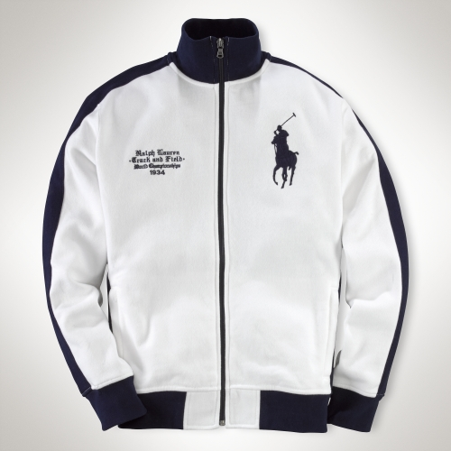 polo ralph lauren crossedflags track jacket in white for. Black Bedroom Furniture Sets. Home Design Ideas