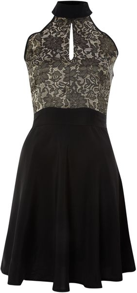 Pussycat Halter Neck Jacquard Dress - Lyst