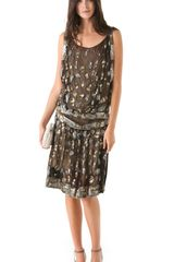 Reem Acra Silk Chiffon Flapper Dress - Lyst