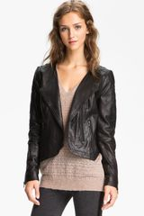 Trouvé Quilted Panel Leather Moto Jacket - Lyst