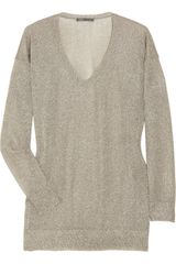 Vince Metallic Knitted Sweater - Lyst