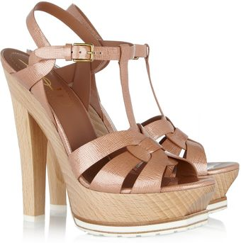 Yves Saint Laurent Tribute Patentleather and Wood Sandals - Lyst
