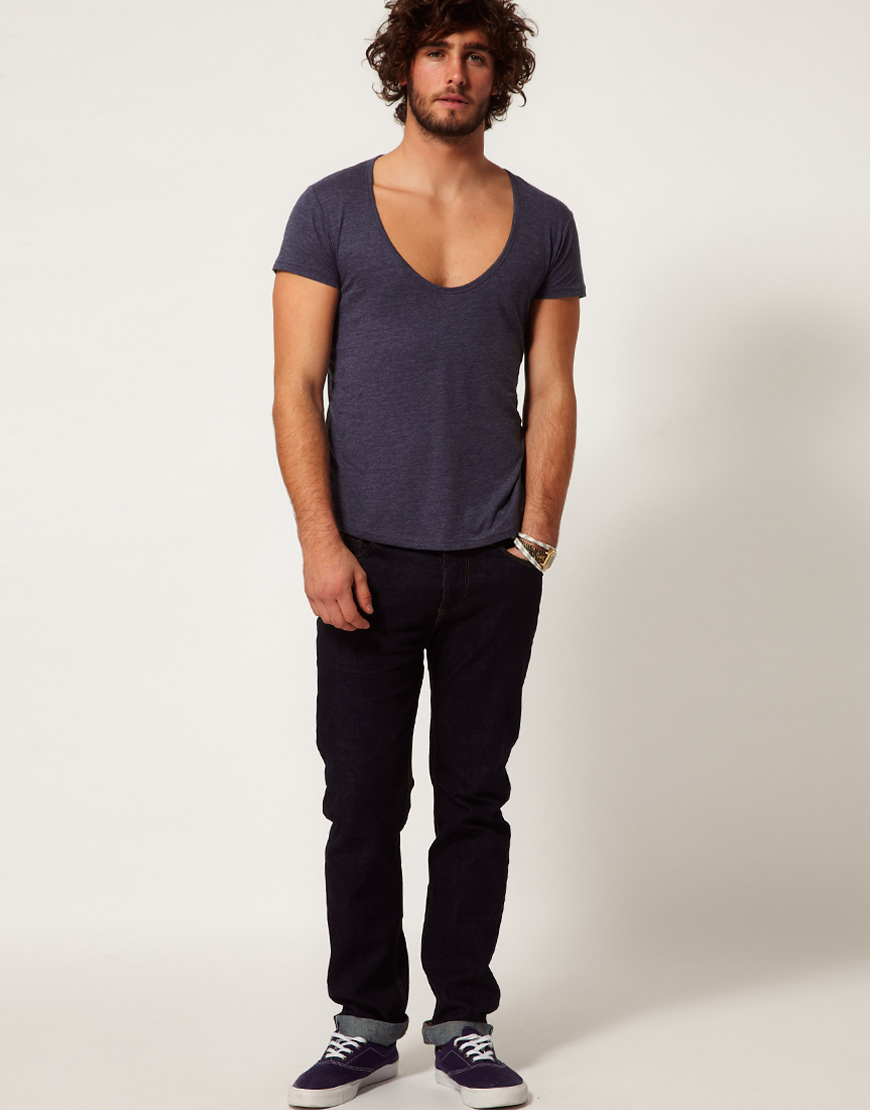 Asos t shirt with deep scoop neck in blue for men lyst for Deep scoop neck t shirt